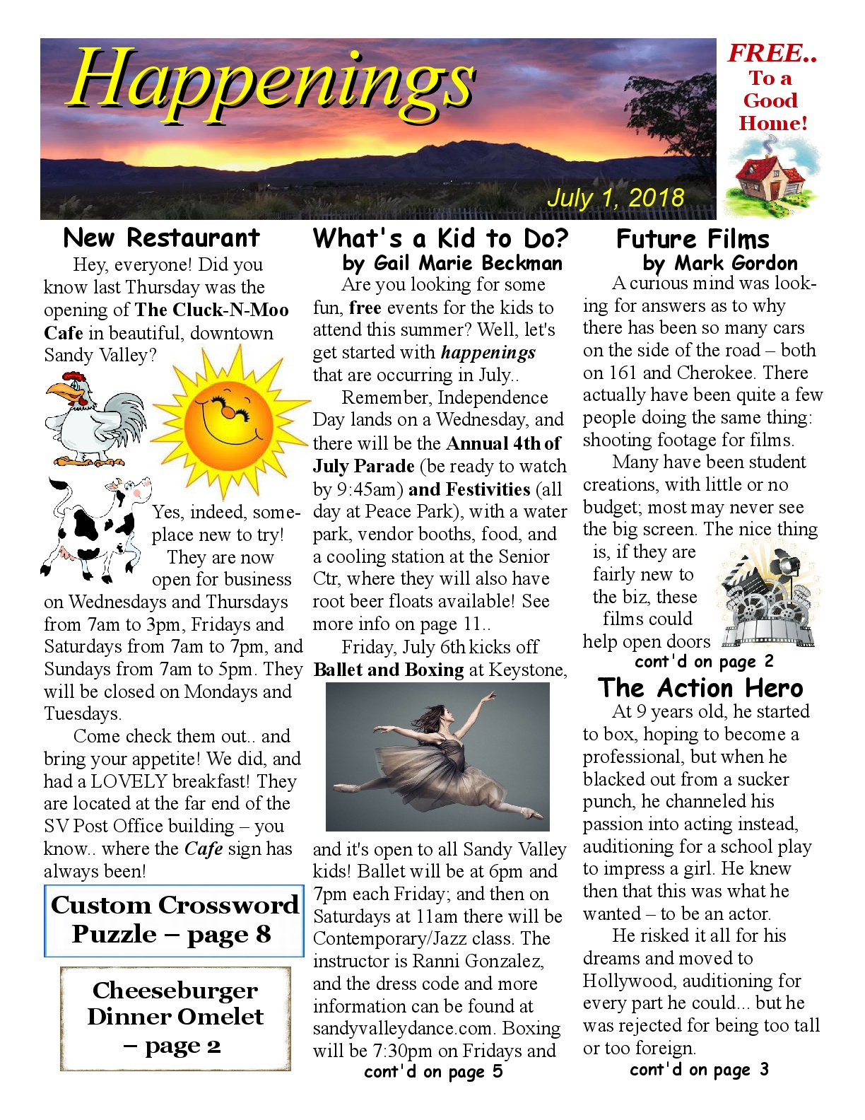 Sandy Valley Happenings Listing